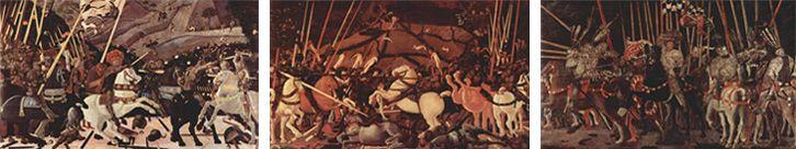 パオロ・ウッチェロ作『サン・ロマーノの戦い』(左からナショナル・ギャラリー蔵、ウフィツィ美術館蔵、ルーブル美術館蔵)