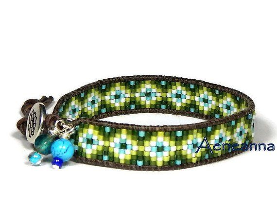 Handmade bracelet Layered bracelet Boho jewelry Beaded bracelet Boho bracelet Wrap bracelet Green bracelet