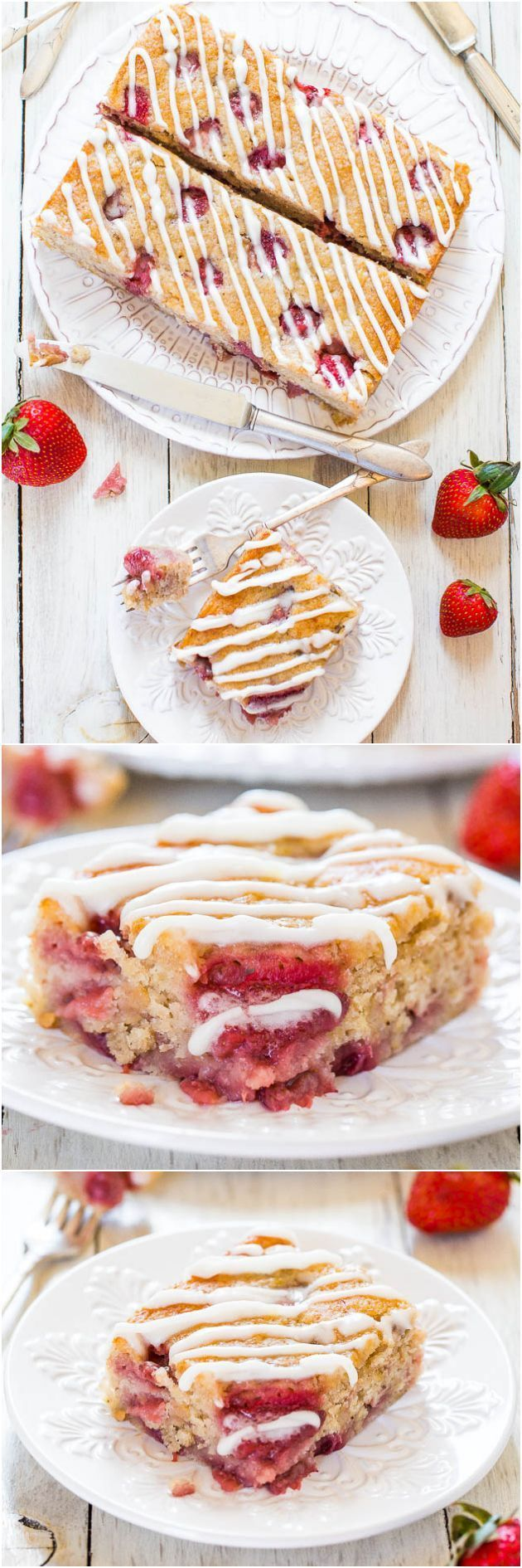 Soft & Fluffy Strawberry Banana Cake #vegan #strawberry #cake