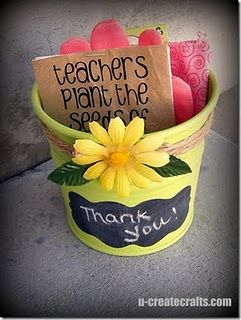 "Great idea.. especially since I forgot a Christmas present for Sophia's teacher!  ""Teachers plant the seeds of knowledge that will grow forever"" (gloves and seeds in tin pail)"