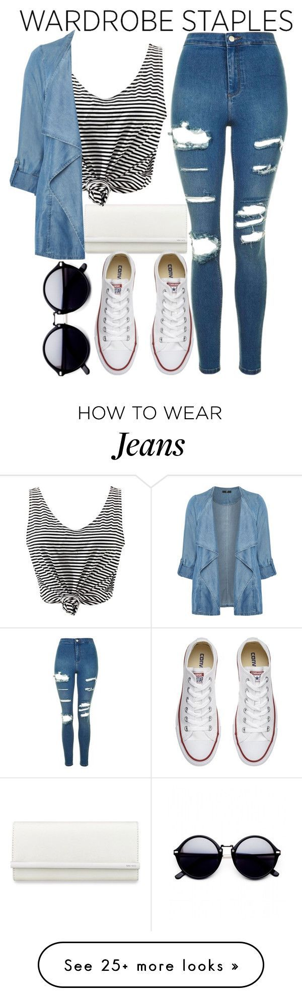 """Wardrobe staples"" by mareehamasood246 on Polyvore featuring Nine West, WithChic, Evans, Converse, Topshop, denimjackets and WardrobeStaples"