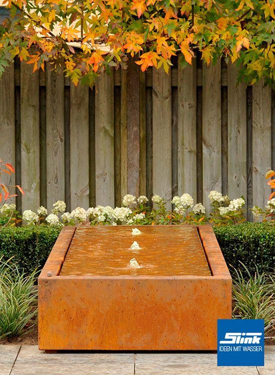 Epic Gartenbrunnen Cortenstahl Kubus Tisch