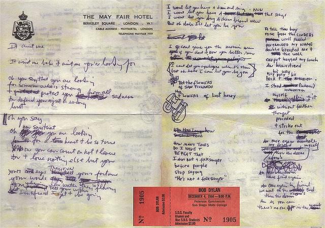 Bob Dylan's handwritten lyrics to It Ain't Me, Babe. Amazing