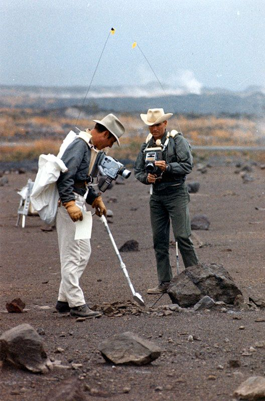 Apollo 13 astronauts Jim Lovell and Fred Haise train for the moonwalk they would never take part in