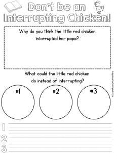 """{Free} Interrupting Chicken Activities """"Don't be an interrupting chicken..."""" cute book with printable to help students understand the significance of waiting their turn to speak!"""