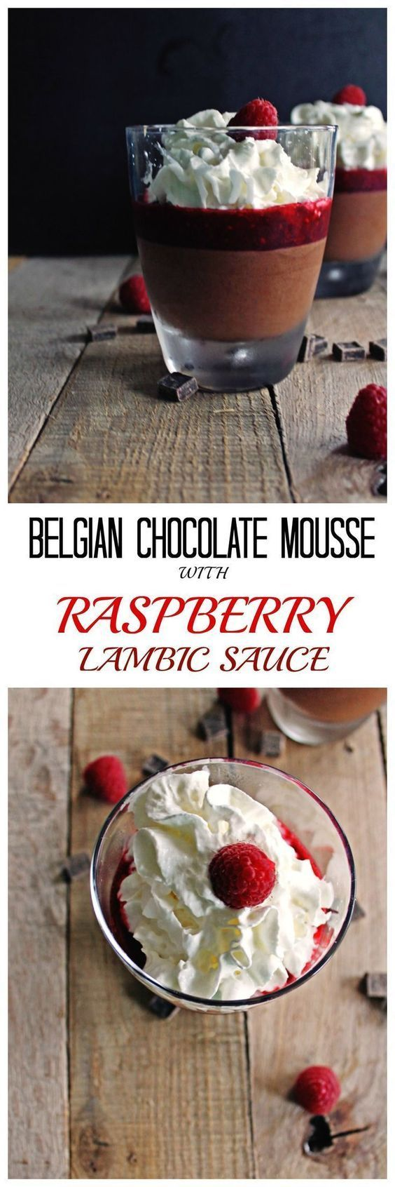 Easy to follow recipe for decadent Belgian chocolate mousse with raspberry lambic sauce. Topped with whipped cream and fresh raspberries. So good!