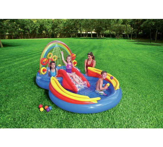Buy Intex 9 5ft Rainbow Ring Play Kids Paddling Pool 201l Pools And Paddling Pools Argos Kid Pool Inflatable Pool Kiddie Pool