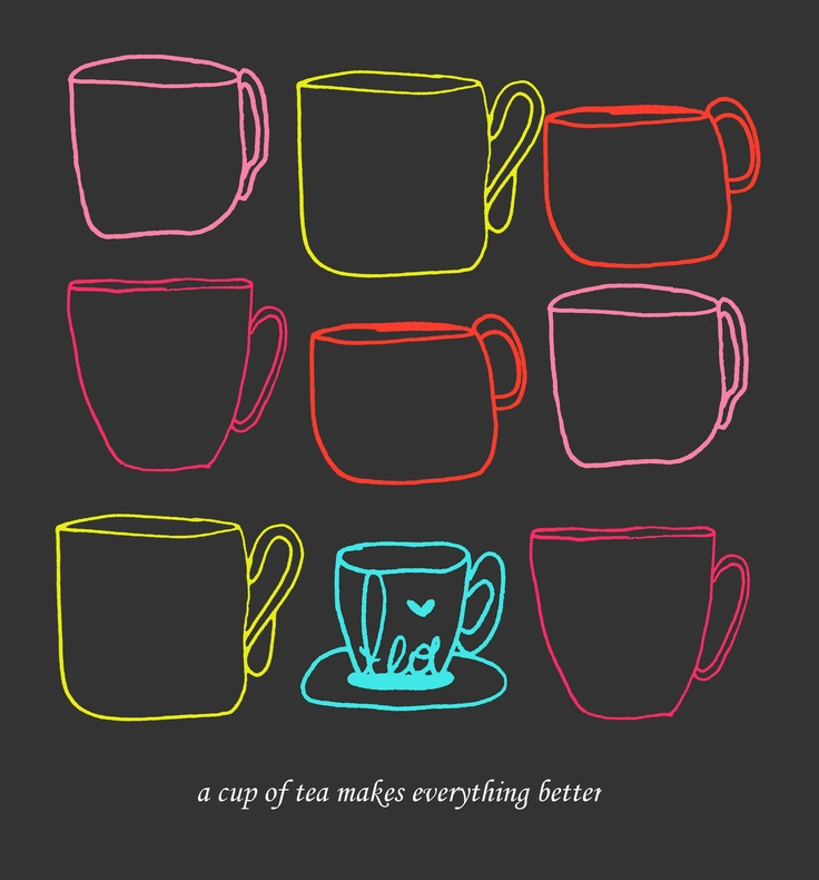 #illustration #tea #kitchen #cups #canvas #decor #home #textiles a cup of the makes everything better / by Taki Trik
