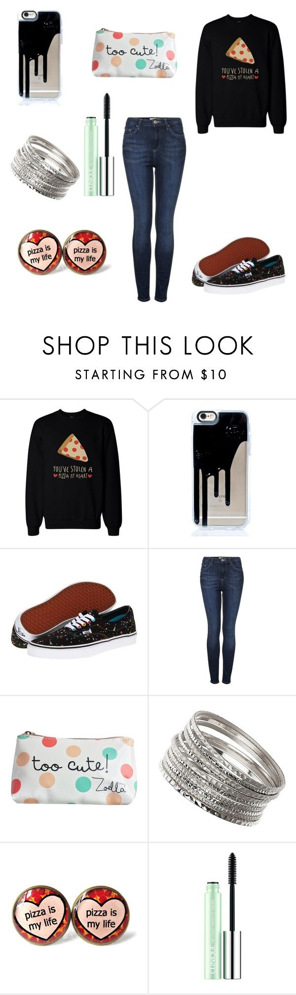 """""""Pizza Is Love. Pizza Is Life"""" by demonlover2002 on Polyvore featuring Vans, Topshop, Zoella Beauty, Wallis and Clinique"""