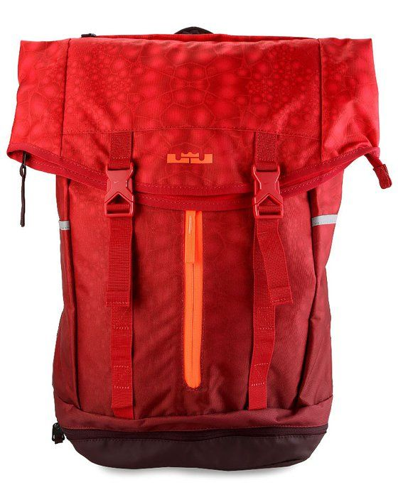 Lebron Ambassador Backpack in red by Nike. Made of polyester material with one main compartment. If you want to go on a backpack hike, this bag is the one! You can fold it and put it in your luggage too if necessary. http://www.zocko.com/z/JFej0