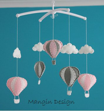 SALE Gorgeous pink grey air balloon mobile hot air by ManginDesign