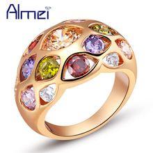 Anel de casamento do arco-íris do vintage Rosa Gold Color Jewerly de prata para mulheres Multicolor Anillos De Plata Anéis coloridos de rosa Almei J424 (China (continente))