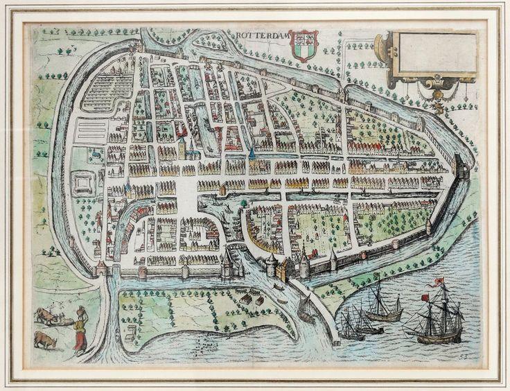 Plattegrond van Rotterdam met midden boven op de kaart het stadswapen. Techniek: Kopergravure Maker: Guicciadini Inkleuring: Latere datum Dating: 1582 Beeld maat: 25.5 x 33.5 cm (H x B)....