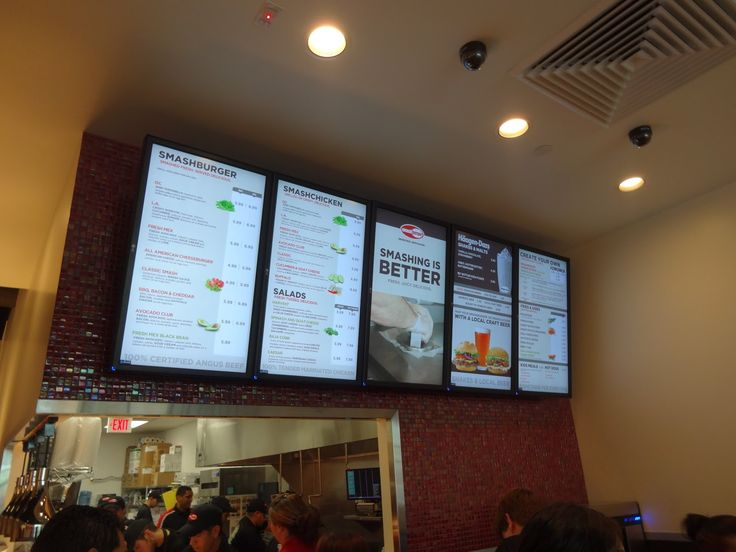 Digital menu board with tile backsplash - Portraits.