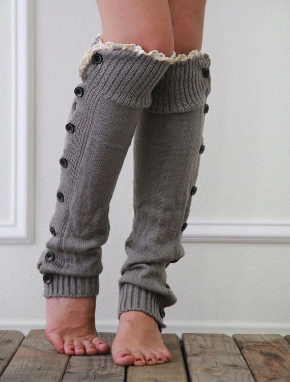 $12.99 Women Leg warmers in Gray / Lace and Button / Boot cuff / boot socks / Urban clothing / Knited leg wear / geometric dance leg warmers by URFashionista on Etsy
