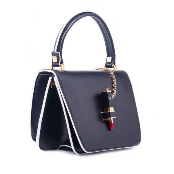 Giancarlo Petriglia Black Leather Lipstick Bag | CARDINALNO.com ($1,605) ❤ liked on Polyvore featuring bags, handbags, real leather purses, leather bags, real leather handbags, genuine leather handbags and leather handbags