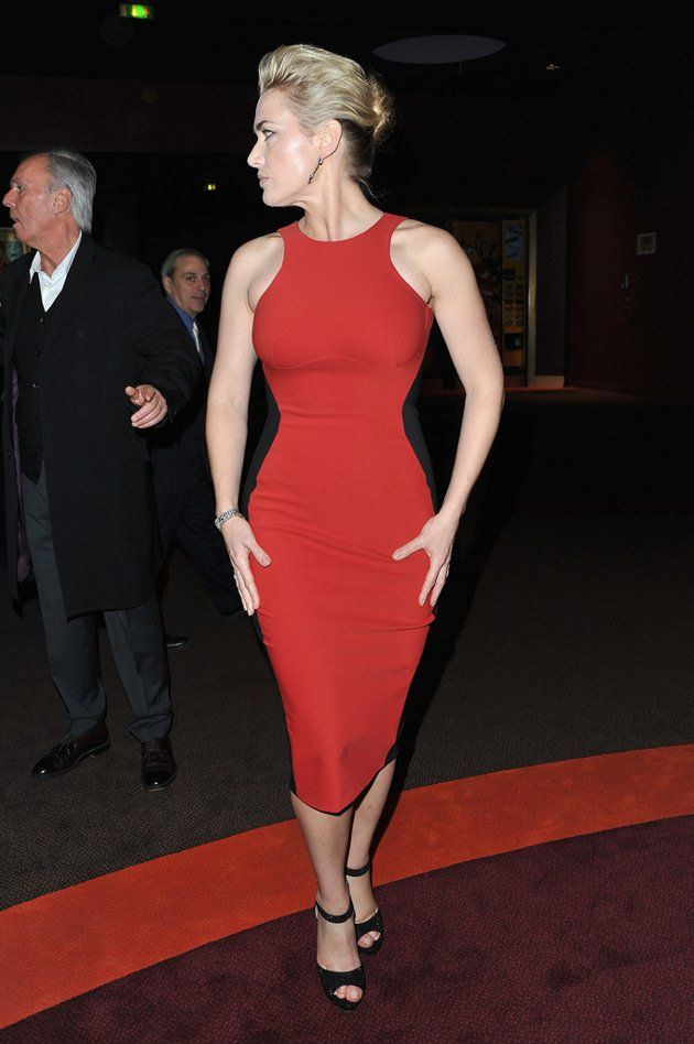 Kate Winslet in a red hour-glass gown