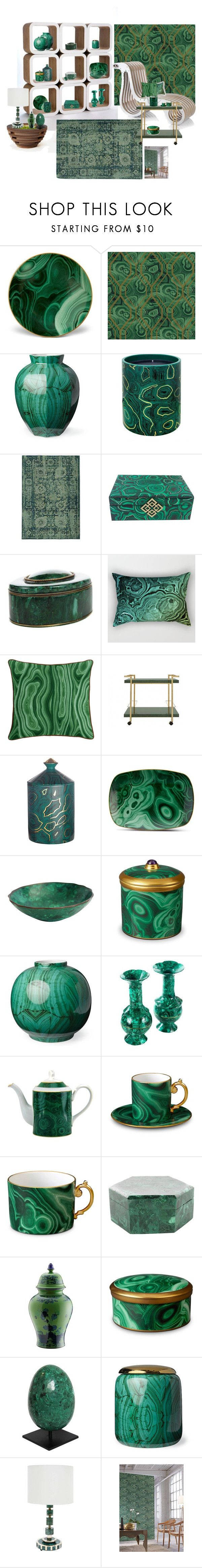 """Collection of malachite objects"" by lizzylima ❤ liked on Polyvore featuring interior, interiors, interior design, home, home decor, interior decorating, L'Objet, Frontgate, Fornasetti and Pantone Universe"