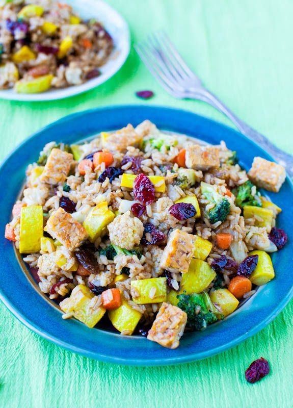 pumpkin spice brown rice tempeh and cranberry salad