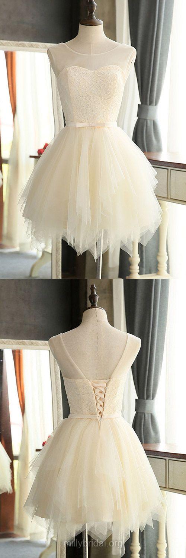 Short Bridesmaid Dresses, A-line Bridesmaid Dresses, Lace Bridesmaid Dress, Tulle Cute Homecoming Dresses, Short Cocktail Dresses