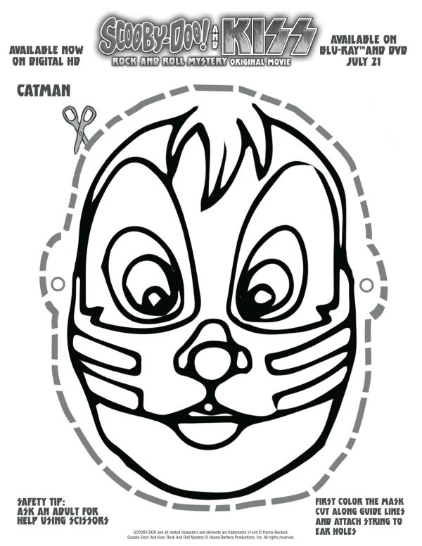 Free printable scooby doo kiss catman mask printable for Kiss mask template