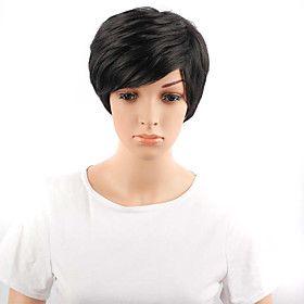 короткие волнистые волосы черного цвета синтетические парики для женщин