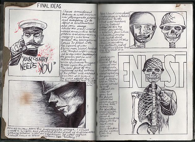 Ruth Beeley: St George's School, Hertfordshire England 2011. Sketchbook page for A Level Art Coursework final artwork. Contemplating an ironic interpretation of a propaganda poster, or the depiction of a single soldier.