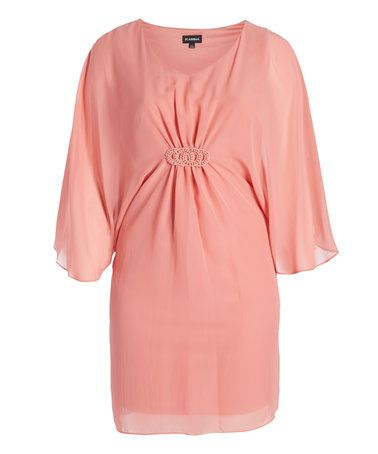 Another great find on #zulily! Peach Pleated V-Neck Dress - Plus #zulilyfinds