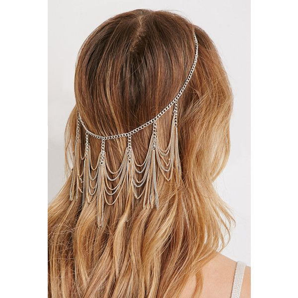 Forever 21 Chain Fringe Head Piece ($6.90) ❤ liked on Polyvore featuring beauty products, haircare, hair styling tools, hair, accessories, hair styles, hairstyles, forever 21 and hair care