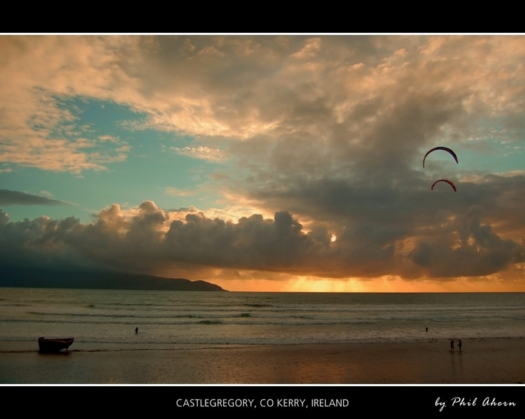 Landscape Seascape Sunset Kerry Castlegregory Ireland Kitesurfing