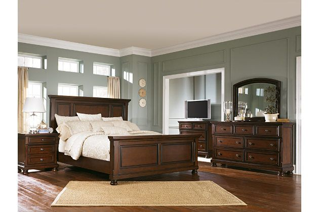 Porter dark wood panel bed frame and traditional furniture set with media chest