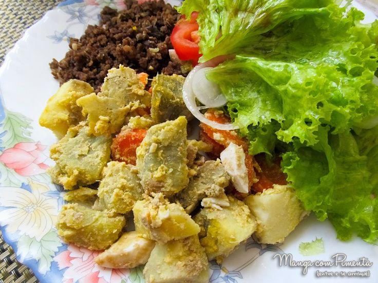 Salada Russa de Batata Doce, para o seu almoço ser mais gostoso. Clique na imagem para ver a receita no blog Manga com Pimenta.