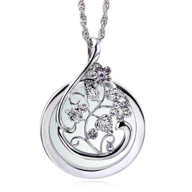 Горячий Продавец Цветок Шаблон Дизайна Увеличительное стекло для Чтения Ювелирных изделий Родителей подарки Кристалл Новый Кулон ожерелье
