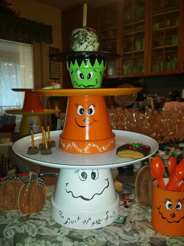 Fruit of the spirit candy holder. Made from clay pots and pizza pans.