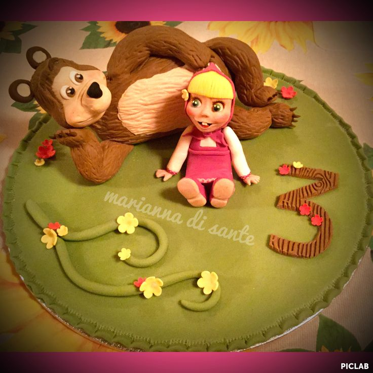 Masha and the bear cake topper