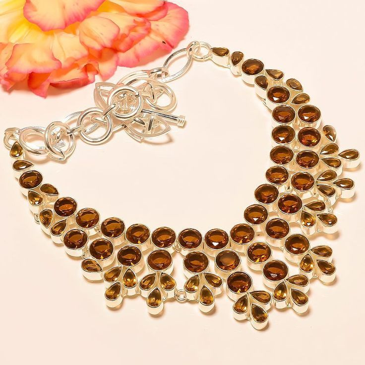 "Smokey Topaz 925 Sterling Silver Jewelry Necklace 18"" #Handmade #Choker"