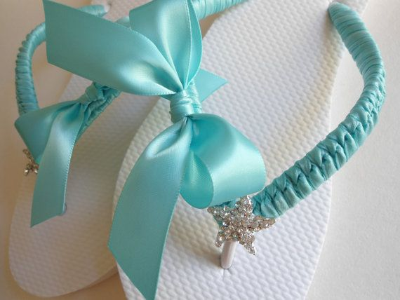 Decorated flip flops wedding shoes wedding by AdrianaDosSantos, $42.00