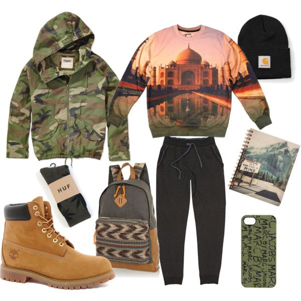 Men street look, 'Taj Mahal' Sexy Sweaters, Dolce and Gabbana trousers, black hat, jacket, Timbaland boots, River island backpack
