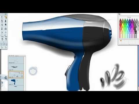 How to sketch a Hair Dryer in Sketchbook Pro - YouTube