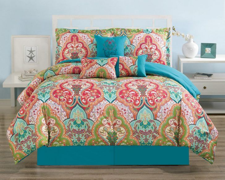 Bedding: Blue And Coral Bedding Turquoise Bedspread Queen Teal And