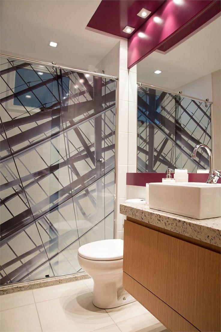 bathroom  purple  modern  banheiro  moderno  roxo  apartamento decorado -> Banheiro Decorado Plaenge