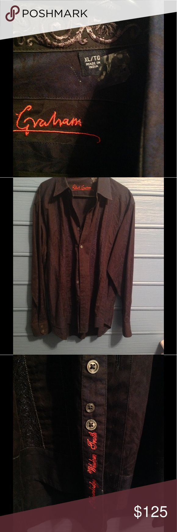 Robert Graham Black Luxury Button down Gorgeous artistry put into this dark horse Button down , sexy , masculine , mint used condition dry cleaned only Robert Graham Shirts Dress Shirts
