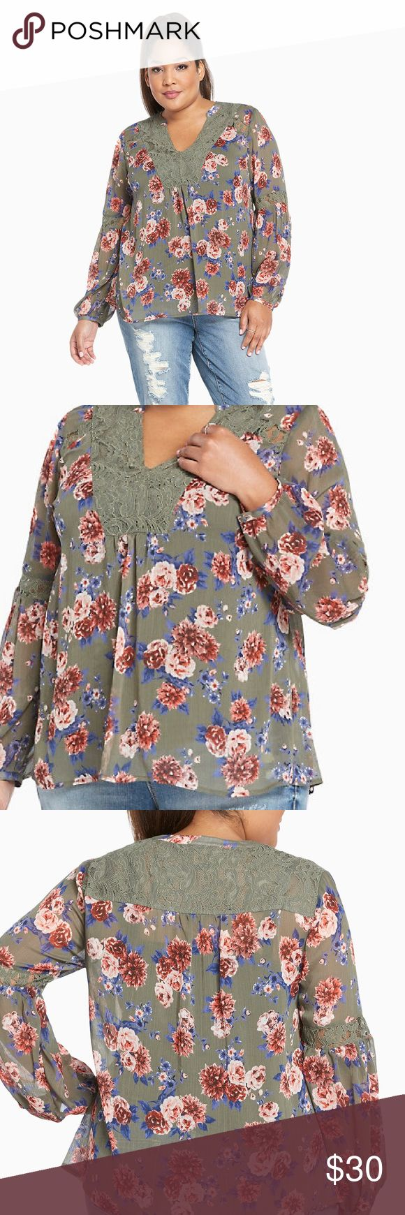 "Torrid Floral Print Chiffon Lace Inset Top ""Is this the real life? Is this just fantasy? This bohemian top is both. The sheer olive green chiffon is a floaty, airy must-have, while the blue and pink rose print is for the dreamers. Lace insets trim the v neck and bell sleeves, for a final ethereal touch. Polyester/nylon/rayon/cotton."" New with tags, size 2X. torrid Tops Blouses"