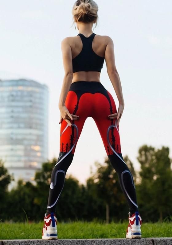 Red Heart Print High Waisted Skinny Yoga Sports Long Legging