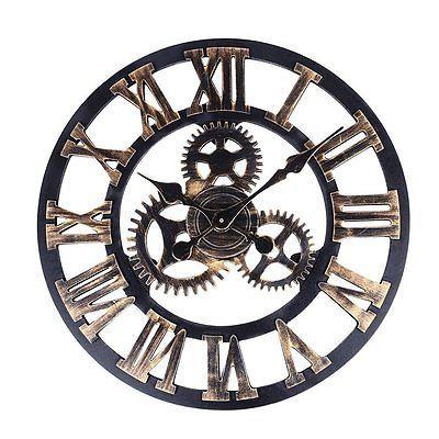 Reloj Vintage, soledi europeo de estilo vintage y retro hecha a mano 3D Engranaje decorativos de madera
