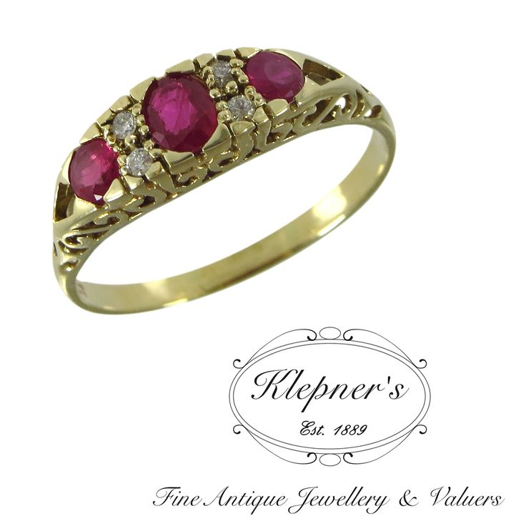 9ct yellow gold, three stone, Vintage ruby and diamond bridge ring, centrally claw-set with one 0.30ct ruby & framed on either side by two 0.11ct ruby & finished with four small diamonds. Visit us at www.klepners.com.au
