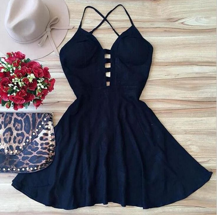 Sexy sleeveless deep V-neck Backless dress-1