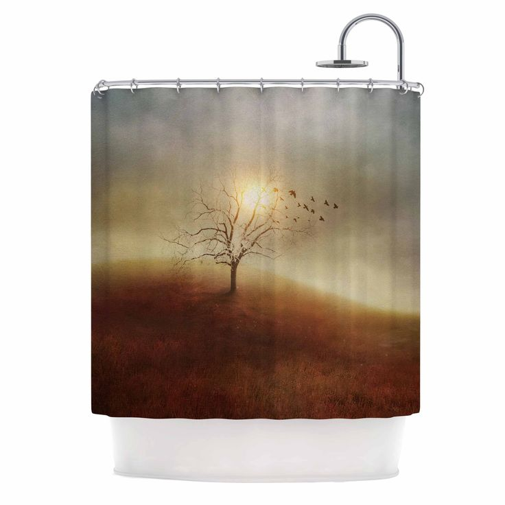"Viviana Gonzalez ""Lone Tree Love I"" Orange Yellow Shower Curtain from KESS InHouse"