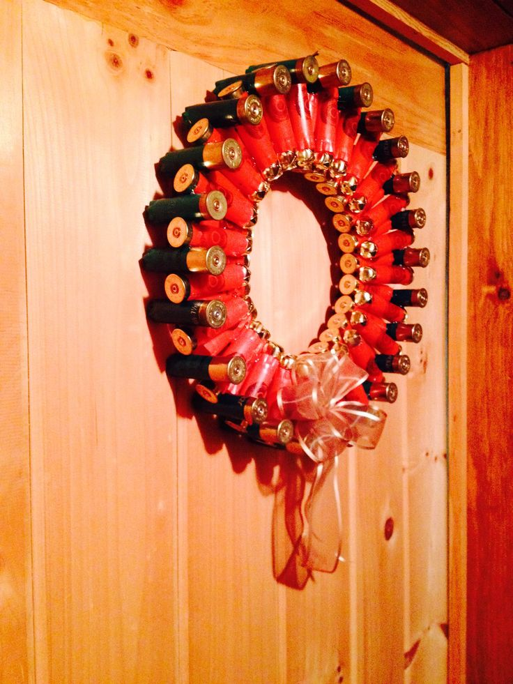 Green and red shotgun shell wreath