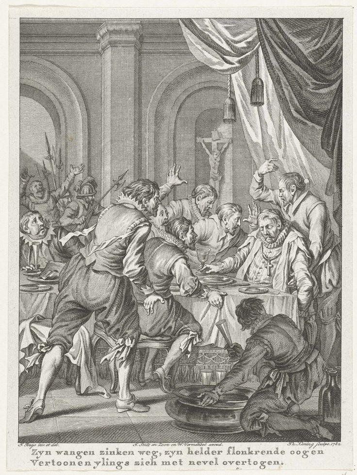 Theodoor Koning | Dood van Requesens, 1576, Theodoor Koning, Willem Vermandel, J. Smit, 1782 | Dood van Requesens. De landvoogd Requesens sterft aan tafel tijdens een banket, 5 maart 1576. Zestiende zang.